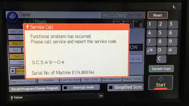 how do I clear SC545 error for Ricoh MP C4503/MP C5503/MP C6003