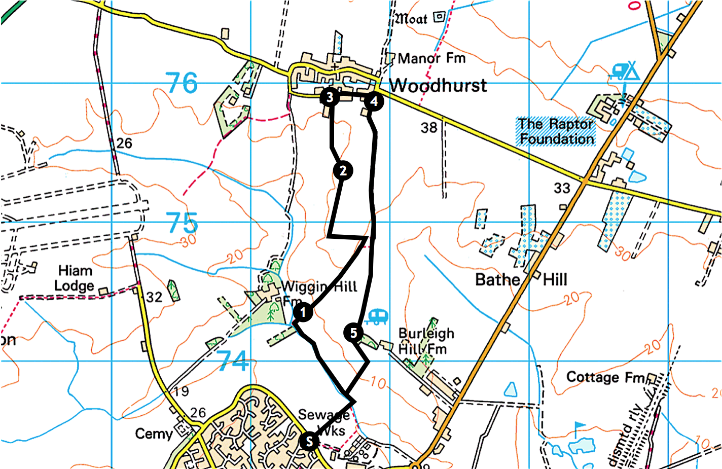 St Ives to Woodhurst map