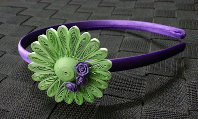 Violet quilling hair band accessories - quillingpaperdesigns