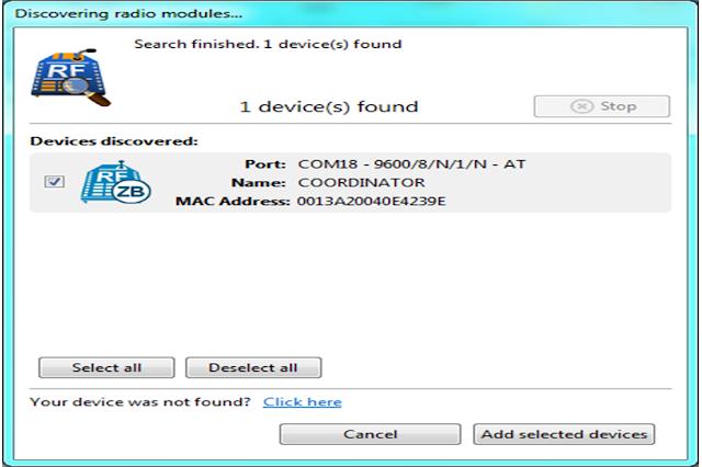 discovered device in XCTU software to configure Xbee/zigbee