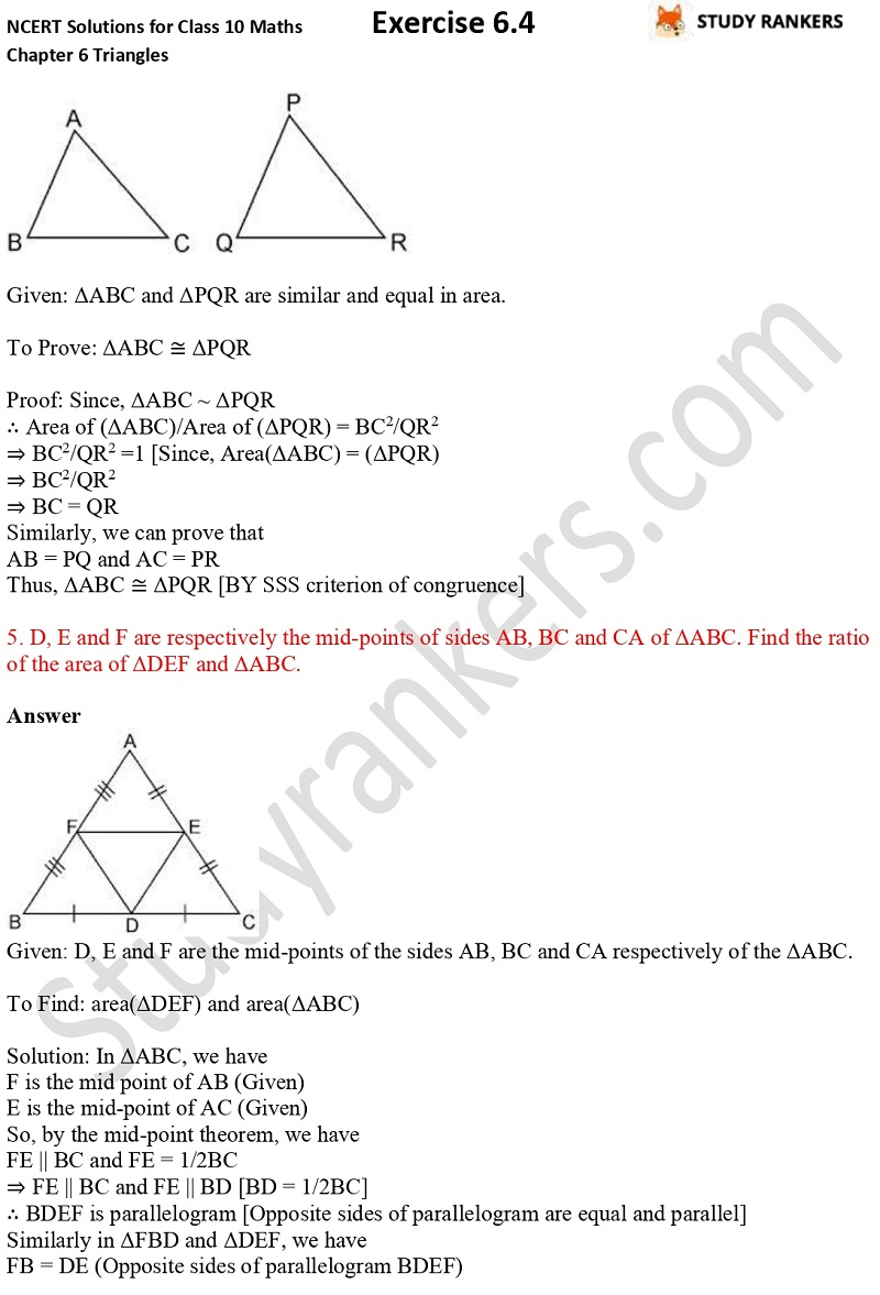 NCERT Solutions for Class 10 Maths Chapter 6 Triangles Exercise 6.4 Part 3