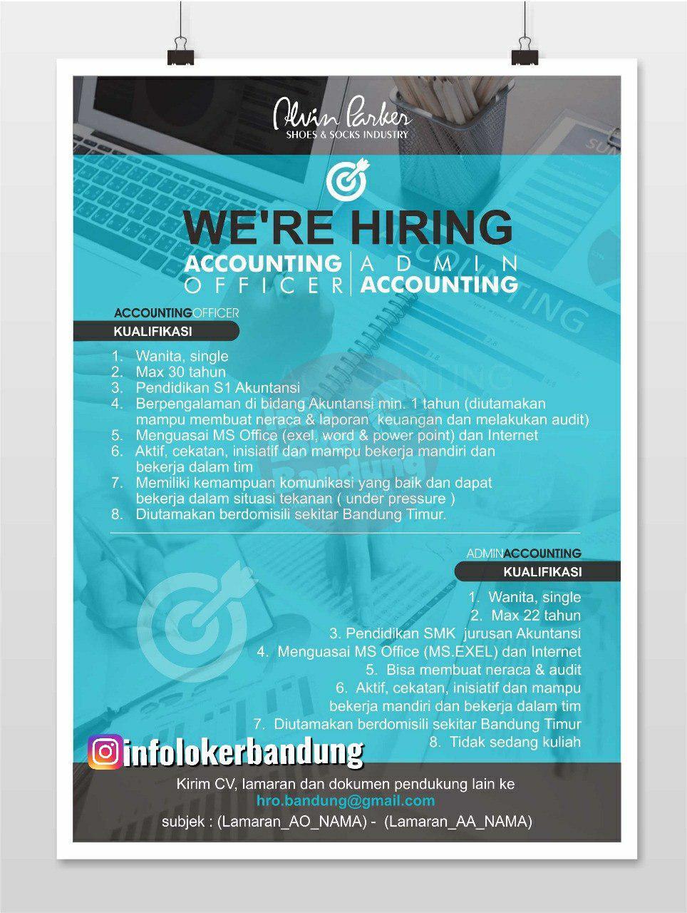Lowongan Kerja Admin Accounting & Accounting Officer Alvin Parker Bandung Juni 2019