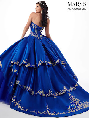 Sweetheart Mary's Quinceanera Royal/Gold Color Ball Gown Dress back side