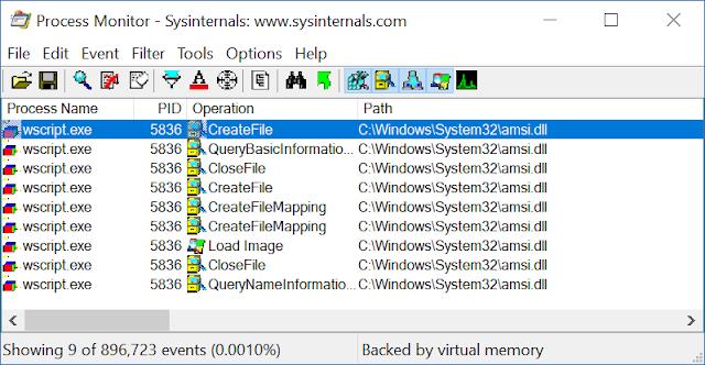 AMSI loading into WScript.exe
