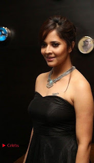 Telugu Anchor Actress Anasuya Bharadwa Stills in Strap Less Black Long Dress at Winner Pre Release Function  0019.jpg