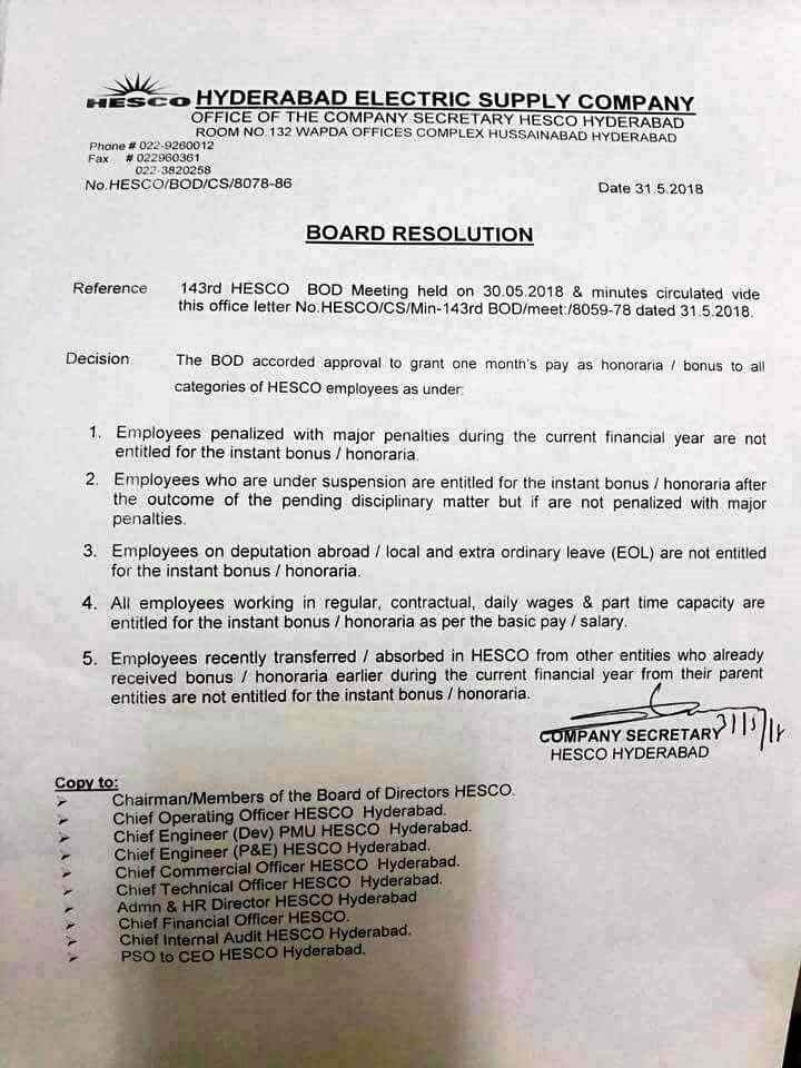 Notification of One Month Basic Pay Bonus HESCO Employees