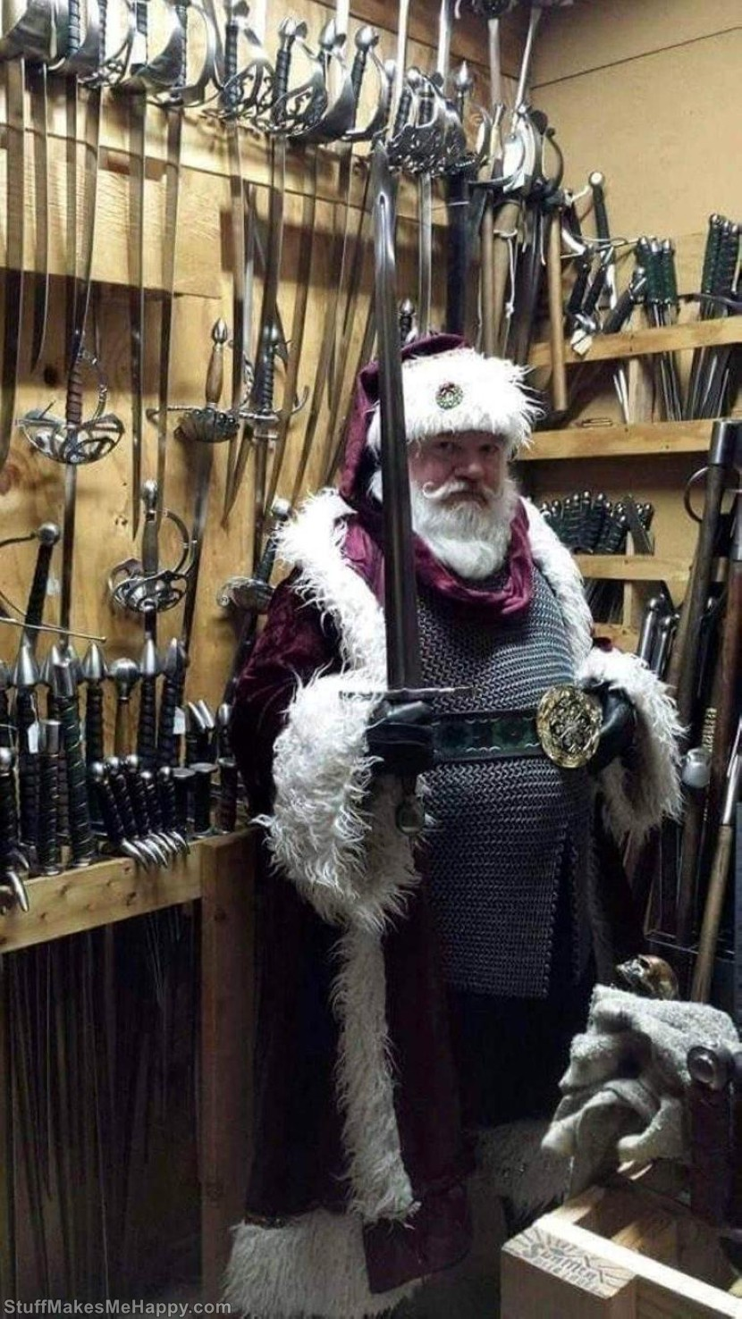 This Santa naughty kids chopping heads off with a sword