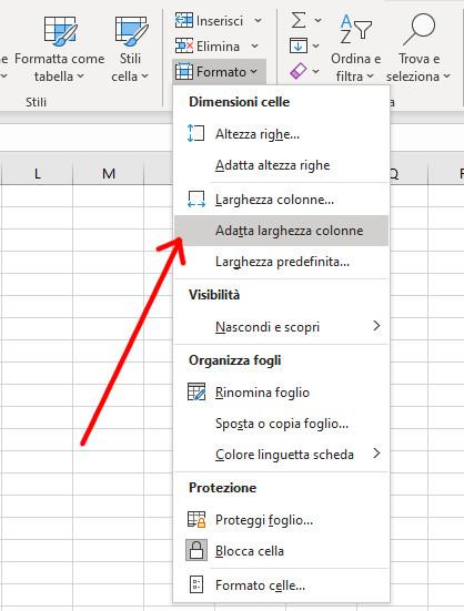 Adattare larghezze delle colonne Excel