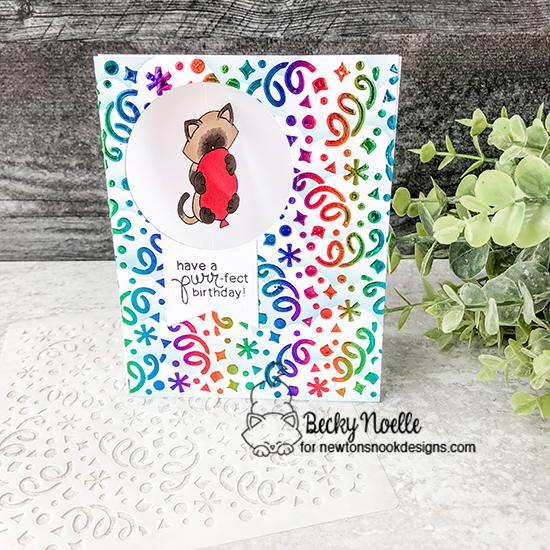 Have a purr-fect birthday by Becky features Newton's Birthday Bash, Confetti, Clouds, and Frames & Flags by Newton's Nook Designs; #newtonsnook