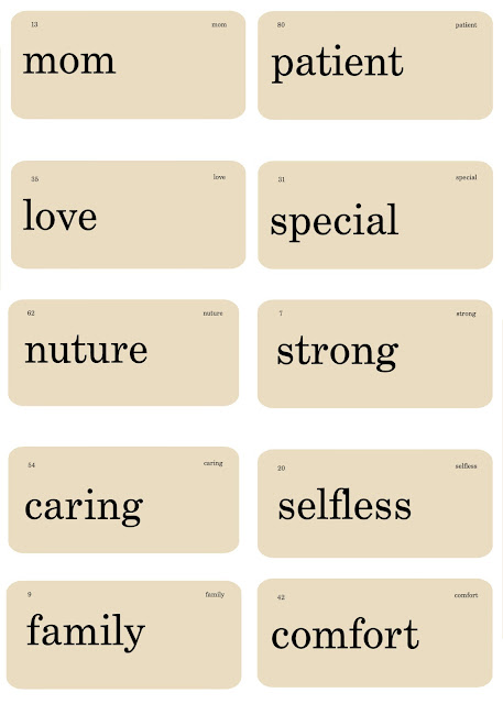 Mother's Day Flash Cards Free Printables.