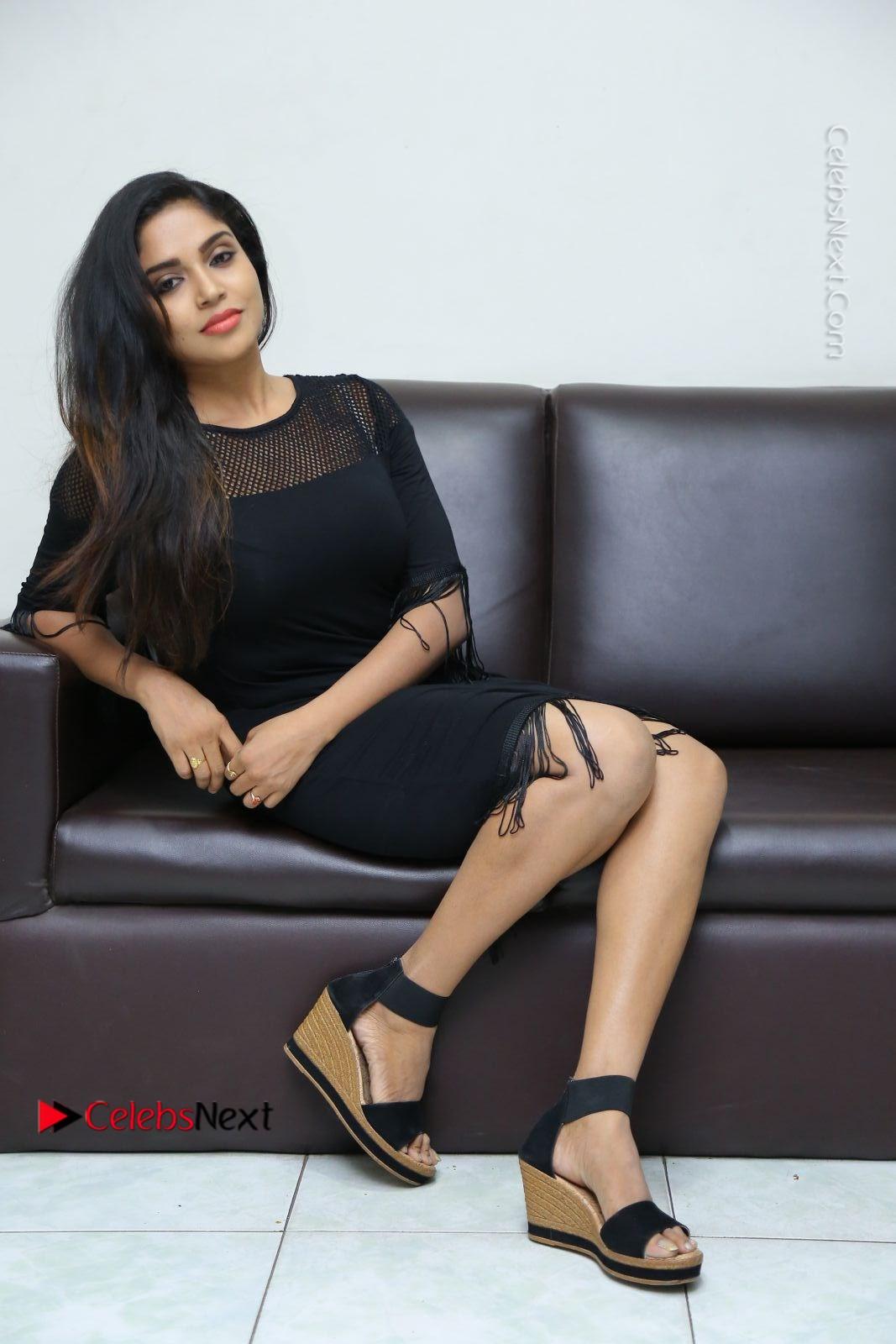Karunya Chowdary Latest Stills in Black Short Dress at Edo Prema Lokam Audio Launch