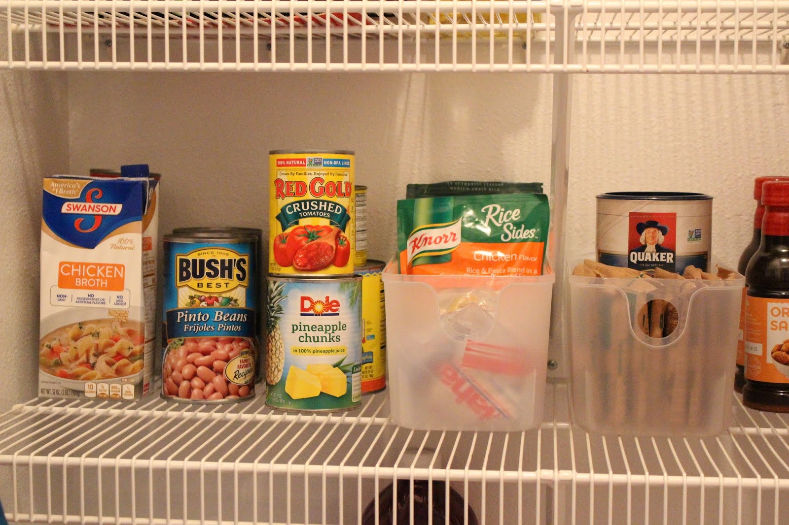 ingredients on pantry shelf