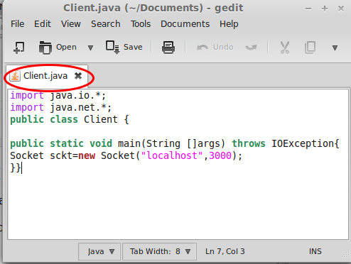 simple Java client server Connection tutorial based on Screenshot