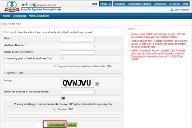 How to link PAN with Aadhaar online