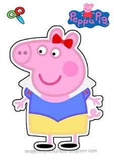 Peppa pig disfrazada de blancanieves