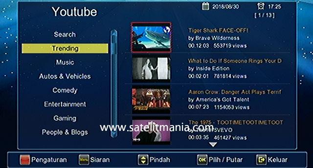 Cara Menonton Youtube di Receiver Matrix Burger S8 HD