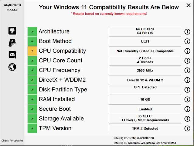 برنامج WhyNotWin11 لمعرفة هل جهازك يدعم ويندوز 11 أم لا