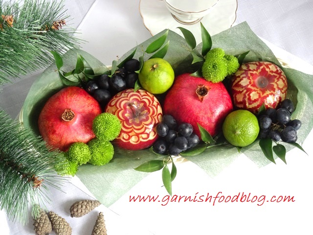 long fruit baskets with pomegranate