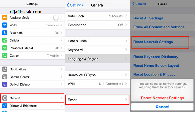 Reset Setting Jaringan iPhone iPad iPod Touch