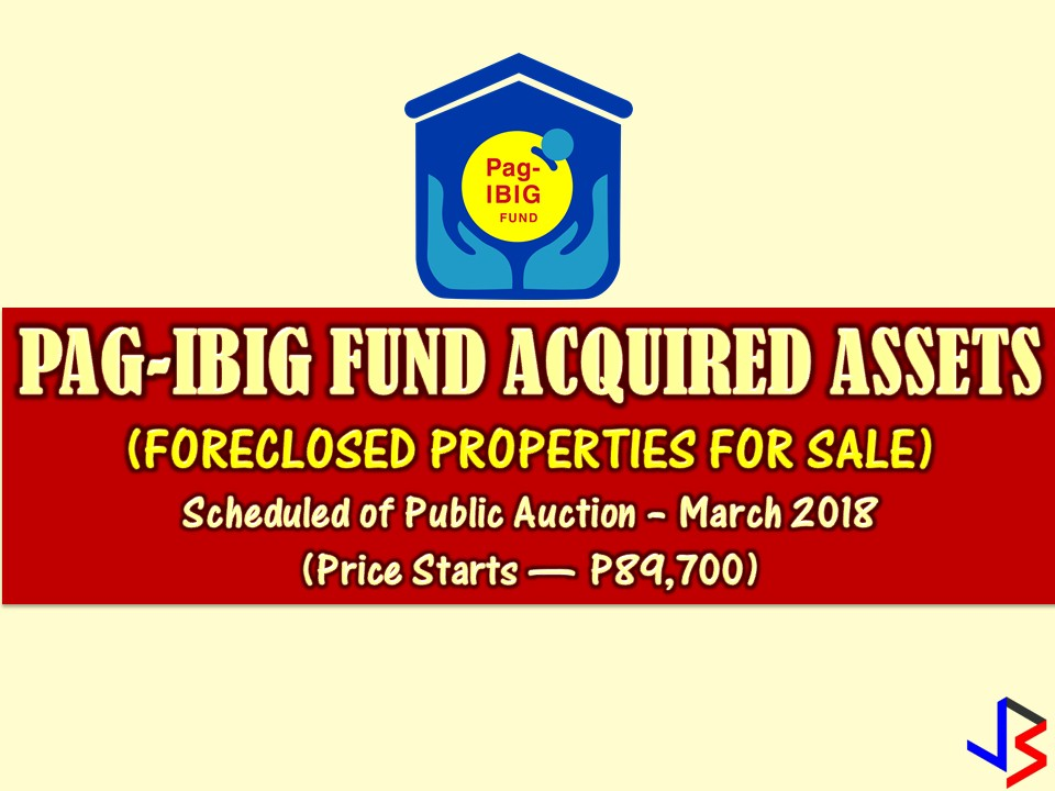 Are you looking for bankruptcy house or foreclosed house to buy for your family or for investment? The Pag-IBIG Fund has many acquired properties for sale in their foreclosure auction this month of March