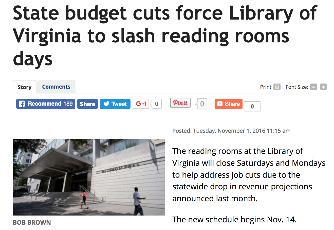 the richmond times dispatch reports on the effect of the virginia state budget cuts