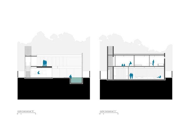 Projeto Casa Ribas criado pelo Estúdio MRGB - Cortes Transversais B e C