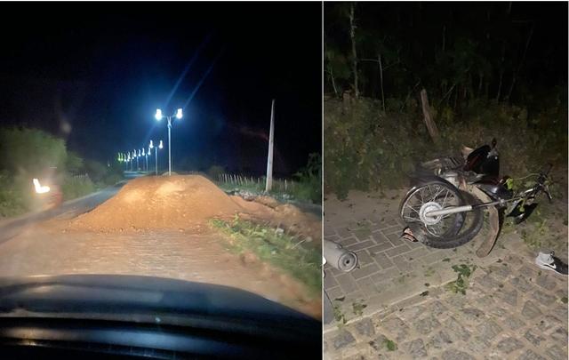 Monte de areia colocado em via pública provoca grave acidente em Santa Cruz do Capibaribe