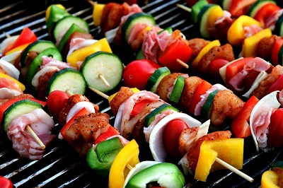 Chicken and Vegetable Shish Kabobs on the Grill
