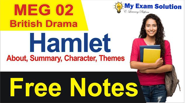 hamlet, hamlet british drama, british drama notes, hamlet notes, hamlet previous year question papers