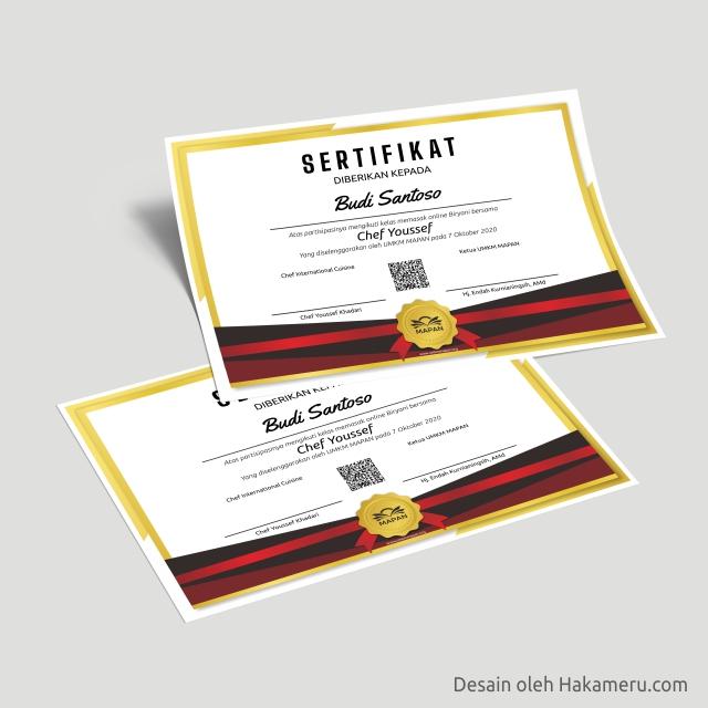 Desain sertifikat untuk kelas pelatihan kursus memasak