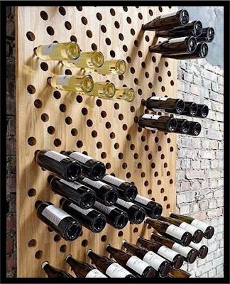 botellero de madera huecos