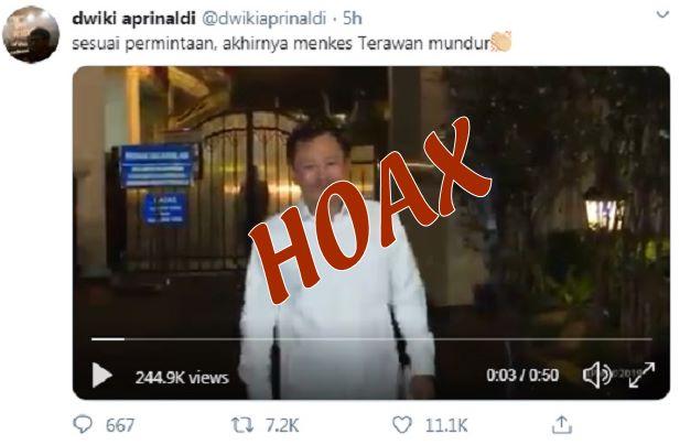 Fakta Berita HOAX Menkes Mundur - Twitter