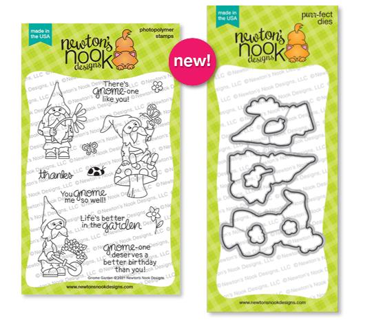 Gnome Garden Stamp Set and Die Set by Newton's Nook Designs #newtonsnook