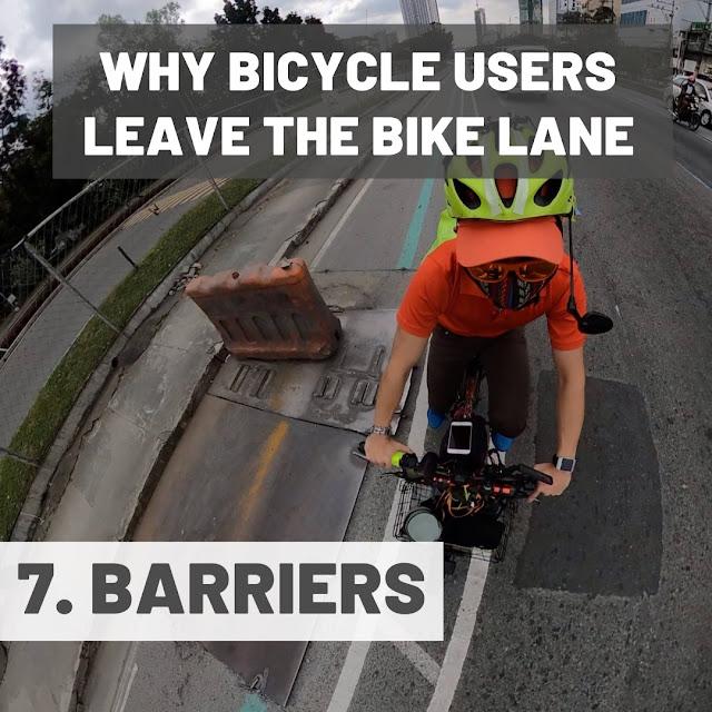 Traffic barriers along the bike lanes