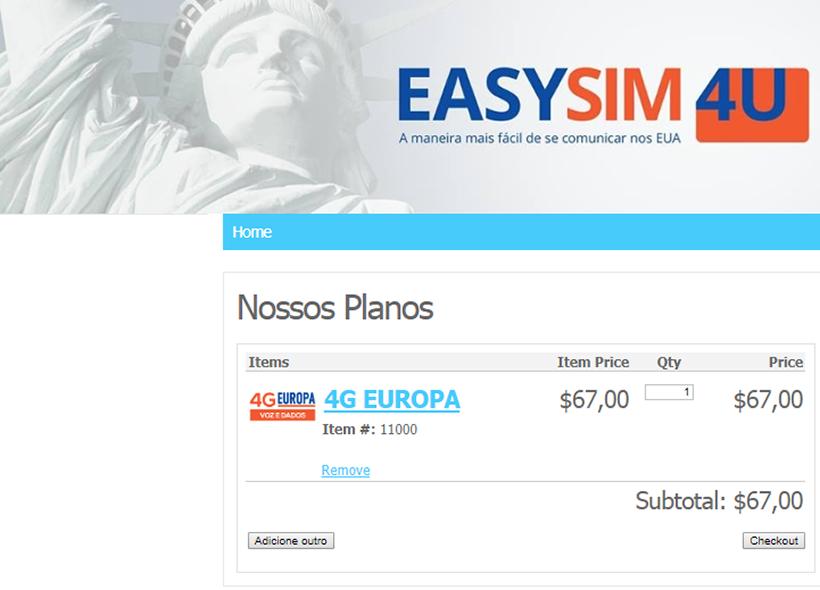 Plano 4G Europa - Chip de celular para falar dos Estados Unidos - EasySim4U