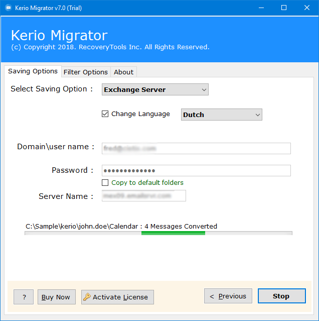 transfer Kerio connect to other server