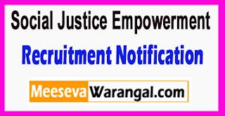 Social Justice Empowerment Recruitment Notification 2017 Last Date 07-07-2017