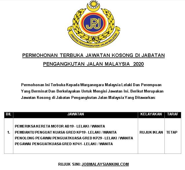 Permohonan Terbuka Jawatan Kosong Di Jabatan Pengangkutan Jalan Malaysia 2020