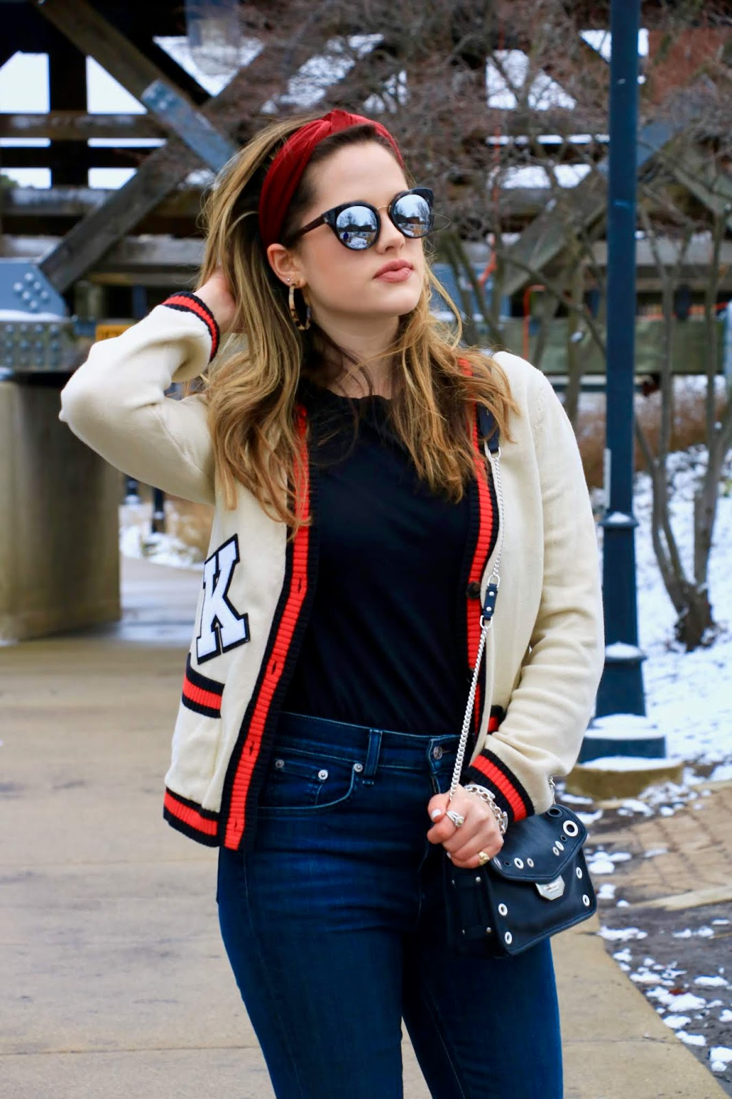 Nyc fashion blogger Kathleen Harper's varsity cardigan outfit
