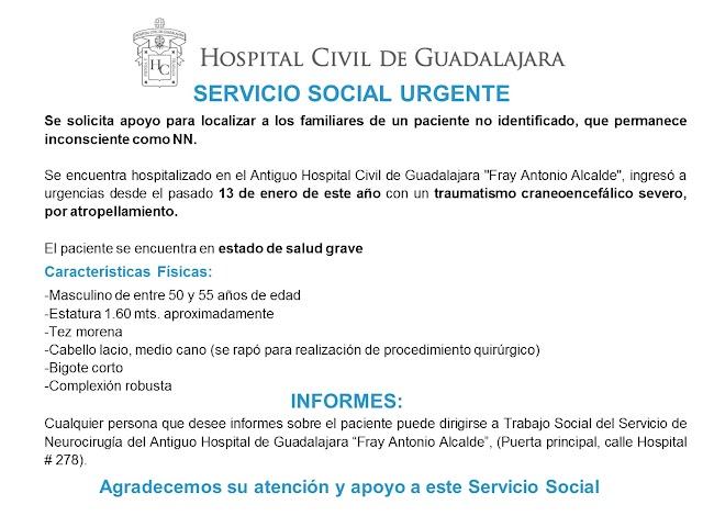 Urgente Servicio Social HCG para localizar familiares de paciente no identificado