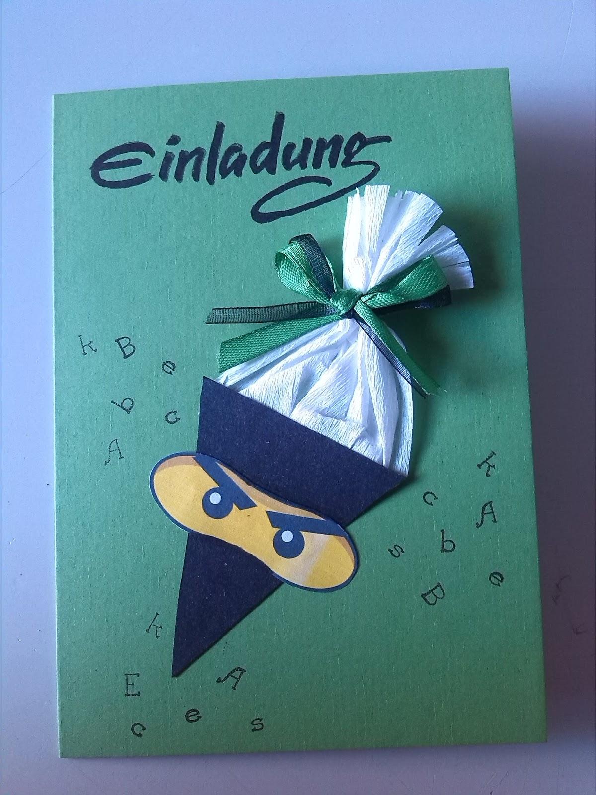 das-creativchen: Ninjago Einladungen zur Einschulung - Schulanfang Einladungskarten