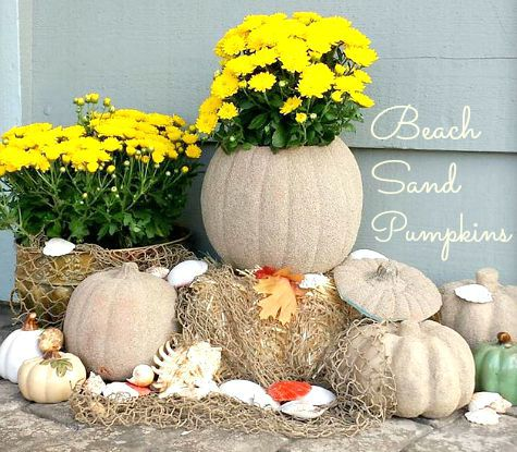 Beach House Fall with Sand Pumpkins