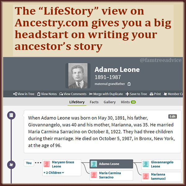 Your tree on Ancestry.com has a LifeStory view.