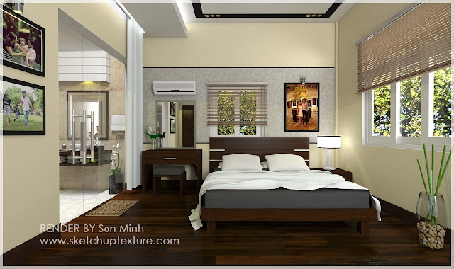 sketchup model bedroom  #2-vray render-a