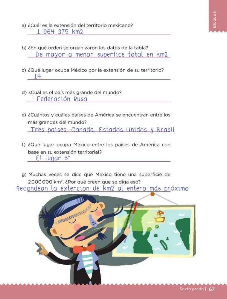 Libro de textoDesafíos MatemáticosNuestro paísSexto gradoContestado pagina 67