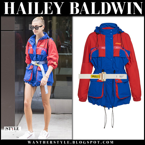 Hailey Baldwin in red and blue jacket heron preston and sneakers adidas model street style july 30
