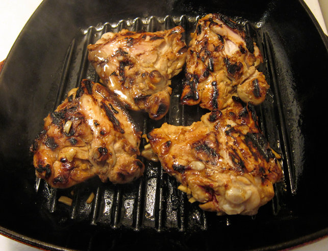 pan grilling chicken