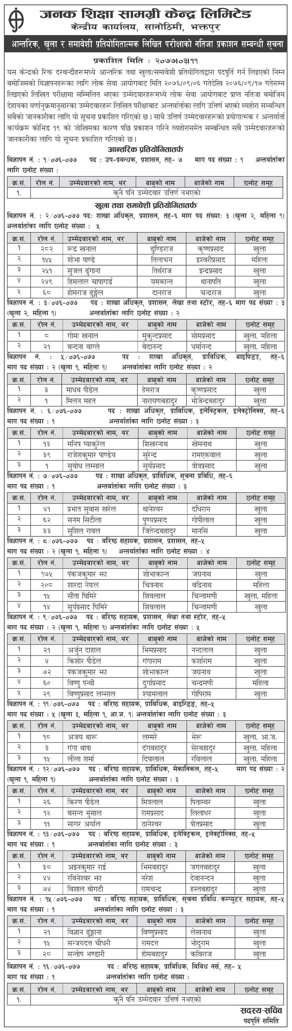 Written Exam Result - Janak Shikshya Samagri Kendra Limited