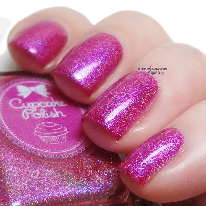 xoxoJen's swatch of upcake polish Hello Hibiscus