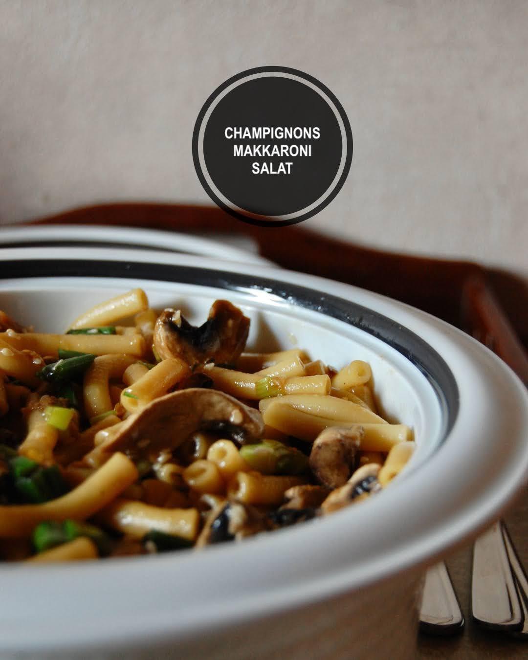 Rezept asiatischer Champignons und Makkaroni Salat